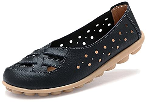 Fangsto Women's Leather Loafers Flats Sandals Slip-Ons UK Size 4 Black