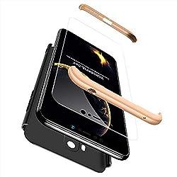 cmdkd Hülle Kompatibel mit Xiaomi Pocophone F1,Hardcase 3 in 1 Handyhülle 360 Grad Hülle Full Cover Case Komplett Schutzhülle Glatte Bumper + Panzerglas.Gold Schwarz
