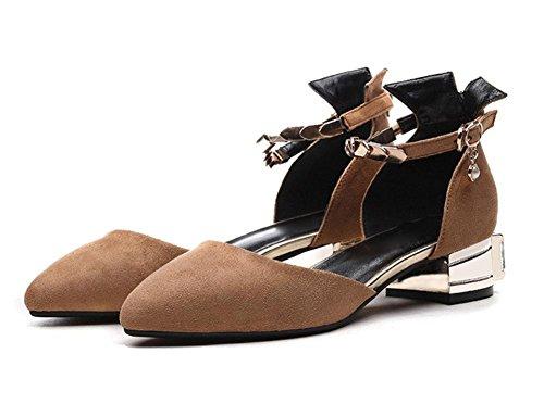 Spitz flache Schuhe Frauen Schuhe hohle weibliche Perle Sandalen Sommer Sandalen und Pantoffeln Khaki