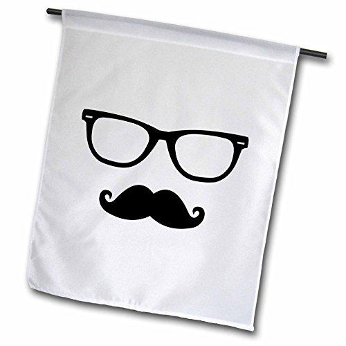 (3dRose Hipster Gläser & Schnurrbart–Garden Flagge, 12von 45,7cm)