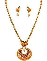 JFL - Traditional Ethnic One Gram Matt Gold Plated Pink Stones Designer Pendant Set For Women & Girls