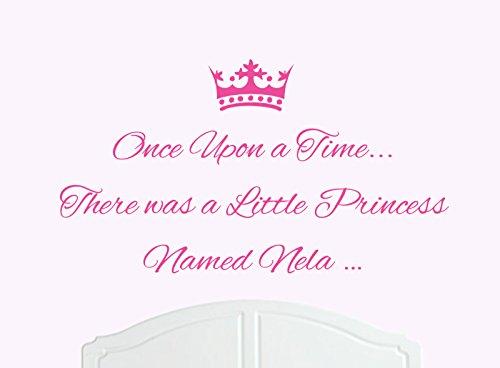 ONCE UPON A TIME THERE WAS A LITTLE PRINCESS LLAMADO NELA GRANDE ADHESIVO DECORATIVO PARA PARED/DE VINILO CAMA HABITACION ARTE CHICA/BEBE