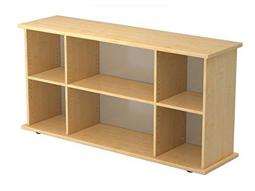DR-Büro Sideboard - Board in 5 Farben - Kommode 166 x 44,8 x 84 cm - Regal mit 2 Ordnerhöhen, Farbe Büromöbel:Ahorn -