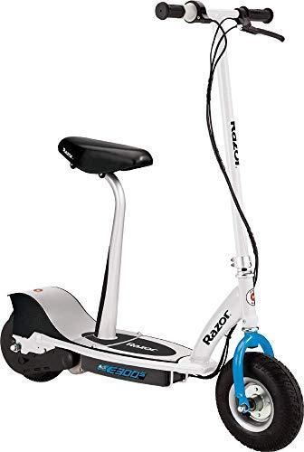 Razor E300S Blanco Azul Scooter ELÉCTRICO con Asiento Desmontable 24 KM/H DE Velocidad Y 40MIN DE AUTONOMÍA, Juventud Unisex, 10'