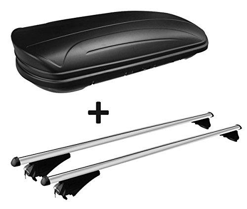 VDP Dachbox schwarz matt MAA320M günstiger Auto Dachkoffer 320 Liter abschließbar + Alu-Relingträger Dachgepäckträger Tiger für aufliegende Reling im Set für Tiger SsangYong Tivoli ab 15 -
