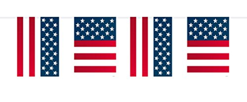 (Folat Flaggengirlande mit USA-Flaggen, Party-Dekoration, 10 Meter Lang)