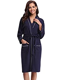 2e8e390e0316 Aibrou Unisex Waffle Dressing Gown Cotton Lightweight Bath Robe for Spa  Hotel Sleepwear