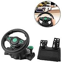 Haol Rotación De 180 Grados ABS Gaming Vibration Racing Volante con Pedales