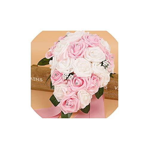 Schaum Blumen Künstliche Brautsträuße Kristallbrautjungfer Braut Hochzeit Bouquets, Rosa -