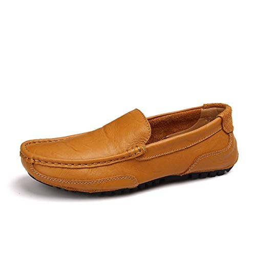 Men Loafers Men Leather Casual Shoes Adult Moccasins Men Driving Shoes Male Footwear Brown 11 -