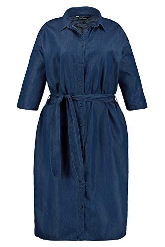 Ulla Popken Damen Hemdblusenkleid mit Bindeband Kleid, Blau (Dark Denim 93), (Herstellergröße: 50+)