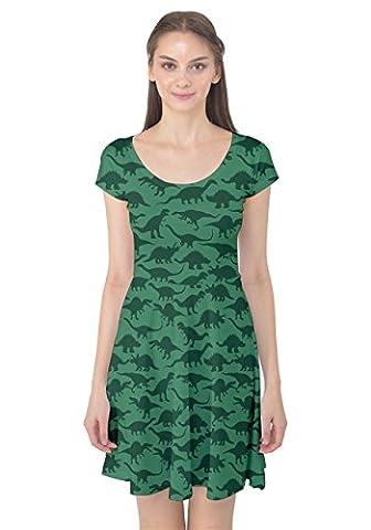 CowCow Womens Jade Green Dinosaur Graphic Prints Cap Sleeve Dress, Green Dinosaur - M