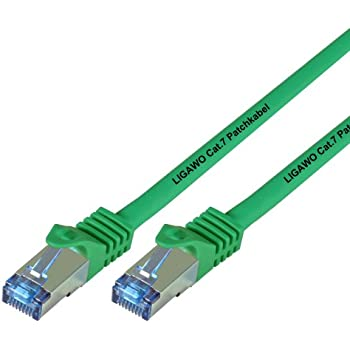 Ligawo Patchkabel Cat.7 S-FTP PiMF RJ45 Cat6A Stecker für Netzwerk/Internet Anschluss (2m) - grün