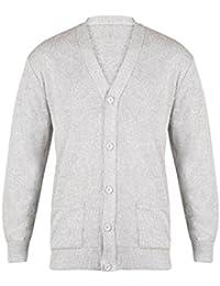 b12cb7dccb3ccc Mens Long Sleeve V neck Button Front Cardigan Smart Casual Full Buttoned  Cardi Jumper Plain Colour Black…