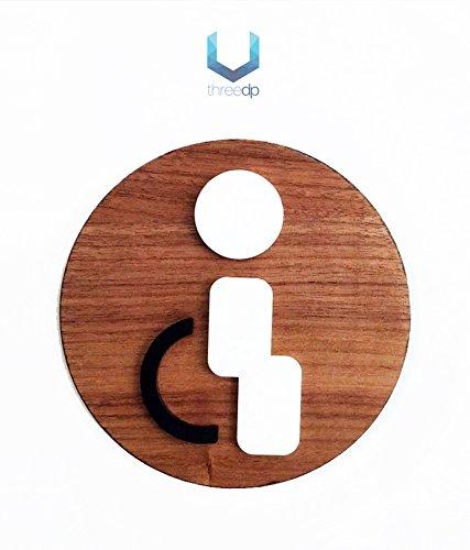 3DP Signs WC [1] | Behinderten-Bad Restroom Toilette-und Türschilder Piktogramme für Türen, lokalen, Büros, personalisierbar, Schild aus Holz Prägedruck