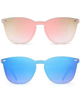 Gafas de Sol Wayfarer Sin Marco Una Pieza de Espejo Reflexivo Anteojos Para Hombre Mujer 2 Paquetes(Rosa&Azul)