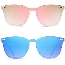 d02a6862cd Gafas de Sol Sin Marco Una Pieza de Espejo Reflexivo Anteojos Para Hombre  Mujer 2 Paquetes