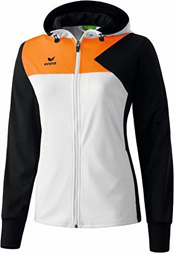 Erima Damen Premium One Training Kapuzenjacke, Weiß/Schwarz/Neon Orange, 10745, 36