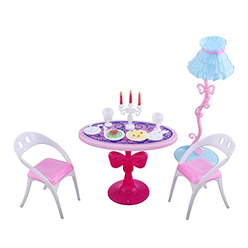 Homyl Puppenhaus Esszimmermöbel - Miniatur Tisch Stuhl Geschirr Lampe Stehlampe Esstisch Stuhl Kerzenhalter Essen Tasse Geschirr Möbel Set - Puppenstube Deko Zubehör