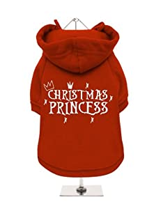 "''Christmas: Christmas Princess'' UrbanPup Fleece-Lined Dog Sweatshirt (Red / White) (X-Large - Body Length: 16"" / 40cm) by UrbanPup"