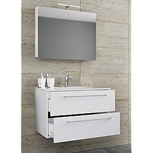 VCM 3-TLG. Waschplatz Set Waschtisch Waschbecken Keramik Sentas Spiegelschrank + 2 Schubladen Breite 80 cm, Weiß