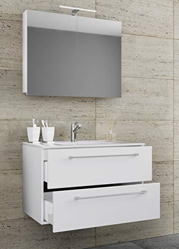 VCM 3-TLG. Waschplatz Set Waschtisch Waschbecken Keramik Sentas Spiegelschrank + 2 Schubladen Breite 60 cm, Weiß