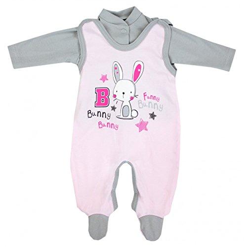 Baby Strampler mit Spruch I love Mum and Dad oder mit Aufdruck 2-tlg. Stramplerset mit Oberteil, Farbe: Kaninchen Rosa, Größe: 62 - Kaninchen-baby-mädchen