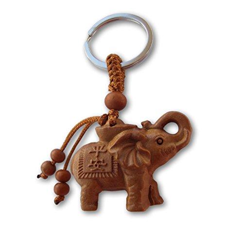 LivelyBuy Llavero Elefante Suerte melocotón, Madera