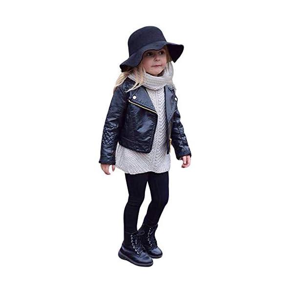JiaMeng Ropa de Chaqueta Corta de Abrigo de Cuero para niños bebé Outwear de Viento de Imitación de Piel 1
