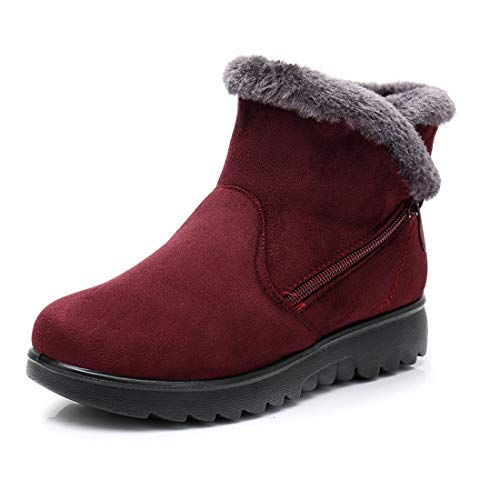 Womens Suede Leather Ankle Boots Winter Warm Lining Comfort Fit Snow Boots Zip up Booties Heel Wedge Shoes Non-Slip Red Size 3.5 UK