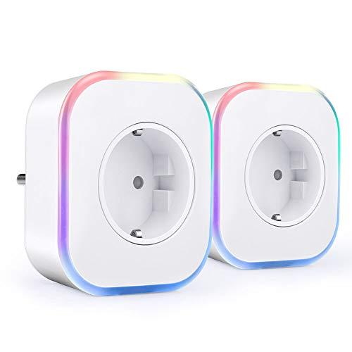 Smart Steckdose, ARINO Smart Home Steckdose WiFi Plug mit USB-Port und Lampe mit Farbwechsel, Fernbedienbar von überall und App-fähig, Kompatibel mit Alexa, Google Home (2er Pack)