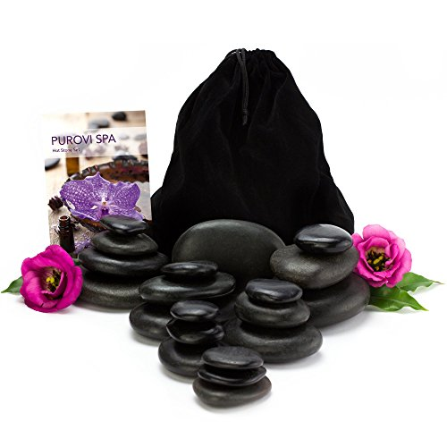 Purovi Spa Hot Stone Massage-Set | 20 Natursteine im Samtbeutel | Basaltsteine | Wellness-Set