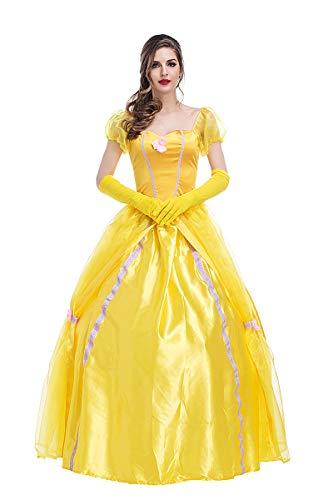 Plus Erwachsene Kostüm Schönheit Für - FHSIANN Schönheit Belle Prinzessin kostüm Maxi Dress Damen Phantasie Ball Party golden Dress Petticoat set für Erwachsene Frauen Halloween Biest