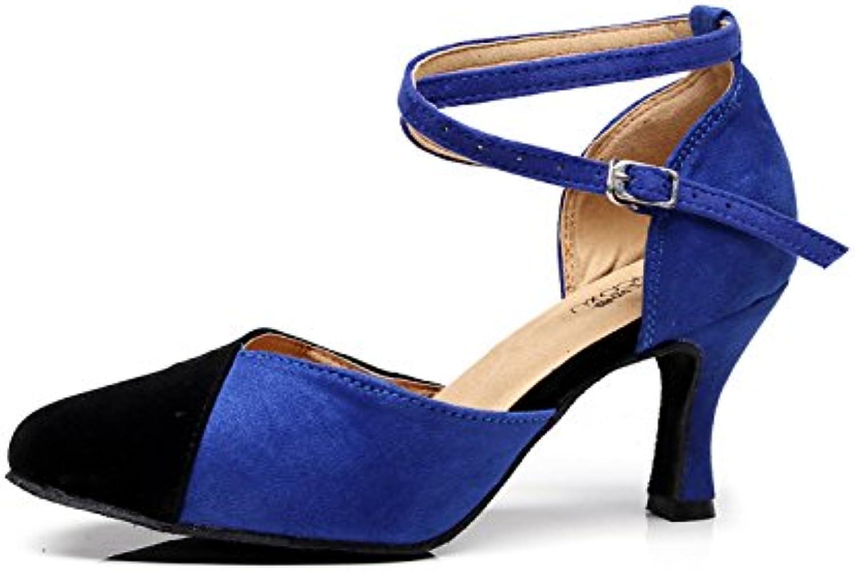 JSHOE Chaussures De Danse Pour Femmes Latin / / Chacha / Samba / / Moderne / Jazz Chaussures De Danse,Blue-heeled7.5cm-UK3.5...B0798C8SVRParent dd022a