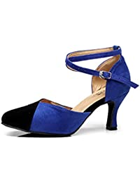 JSHOE Zapatos De Baile Para Mujeres Latinos / Chacha / Samba / Moderno / Jazz Dance Shoes,Blue-heeled7.5cm-UK4.5...