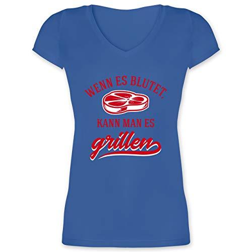 Grill - Wenn es blutet kann Man es Grillen - L - Blau - XO1525 - Damen T-Shirt mit V-Ausschnitt -