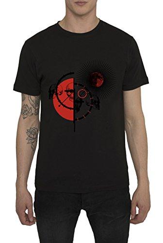 Herren Designer Shirts, T Shirt in Schwarz, Weib mit Design Leder Print - Red Matador - 100% Baumwolle, Jersey, Rundhals, Kurzarm, Urban Mode IM Fashion Rock Style, Smart Casual Coole Tops für Männer (Animal Folie Print Top)