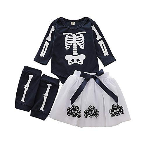 Kostüm Beinwärmer 80's - Miyanuby Newborn Baby Mädchen Langarm Halloween Strampler Tutu Rock mit Beinwärmer Party Kostüm Kleidung Set