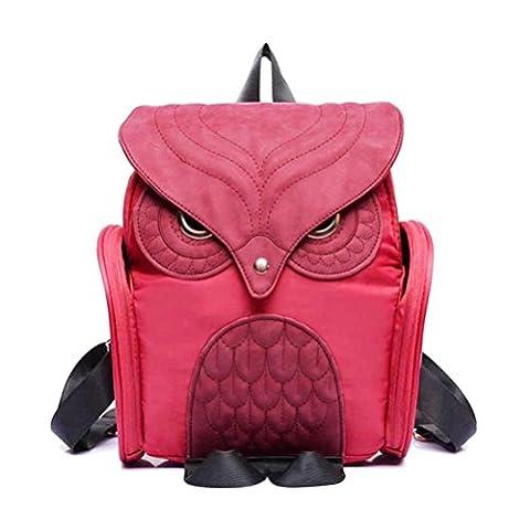 Bluester Women Leather Owl Backpack Female Mujer Mochila Escolar Feminina School Bag (Hot pink)