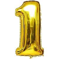"""Langxun 40 """"número 1 aire-llenado y globos de Mylar del oro del helio para las fuentes de la fiesta del cumpleaños"""
