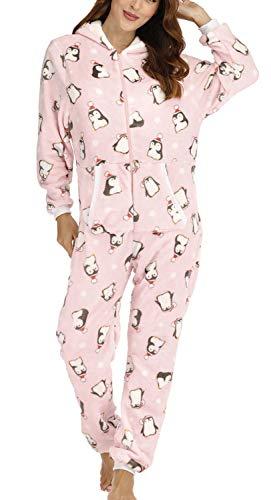 Orshoy Jumpsuit Damen Schlafoverall Schlafanzug Muster Damen Jumpsuit Overall Jogging Training Anzug Einteiler Rosa & Pinguin M