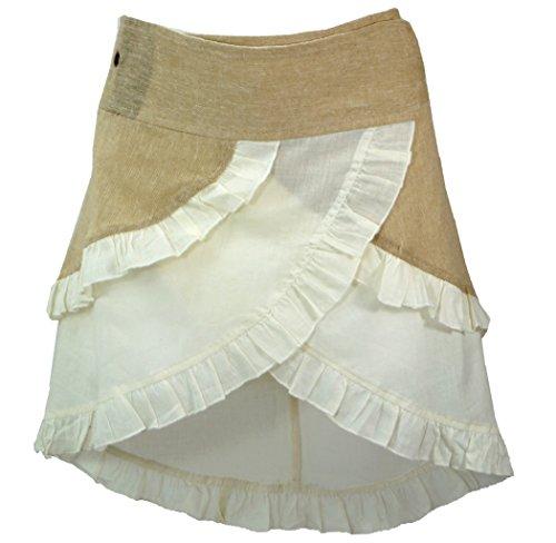 GURU-SHOP, Wrap Skirt, Mini Wrap Skirt, Beige/Blanco