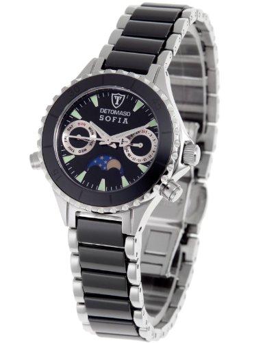 Detomaso DT3001-B – Reloj analógico de cuarzo para mujer con correa de cerámica, color negro