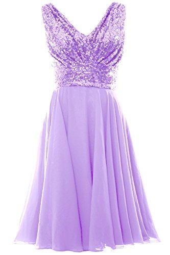 MACloth Women V Neck Sequin Chiffon Short Bridesmaid Dress Formal Evening Gown Lavande