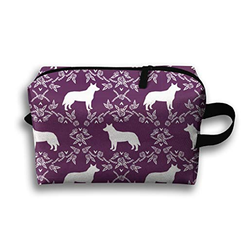 Makeup Cosmetic Bag Australian Cattle Dog Pet Quilt C Cheater Quilt Silhouette Coordinate_3616 Medicine Bag Zip Travel Portable Storage Pouch for Mens Womens 10x4.9x6.3 Inch -