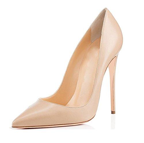 Soireelady Scarpe col Tacco Donna,Scarpe da Donna Eleganti,Scarpe Chiuse Donna Beige EU37