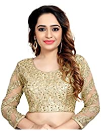 Fashioncraft Women's Brocade & Georgette Blended Blouse (TS-7, Gold, 38-40 Size)
