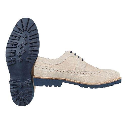 Schnürschuhe Leder Herrenschuhe Oxford Blockabsatz Moderne Schnürsenkel Ital-Design Halbschuhe Beige