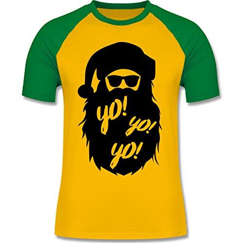 Weihnachten & Silvester - Yo Santa - zweifarbiges Baseballshirt für Männer Gelb/Grün