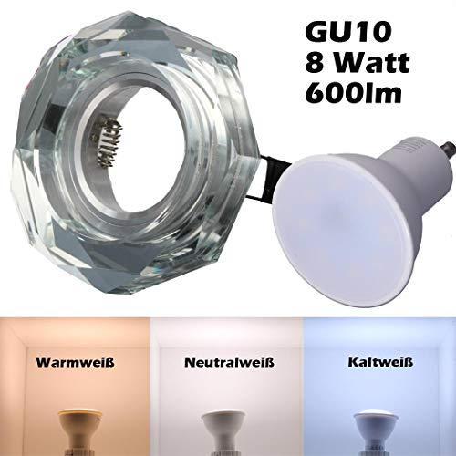 SMD LED Einbaustrahler 230 Volt 8W GU10 Spot Deckenspot Einbauleuchte Rahmen Kristall Glas Rund starr 1316-1 Warmweiß